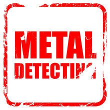 Metal Detecting, Red Rubber Stamp With Grunge Edges