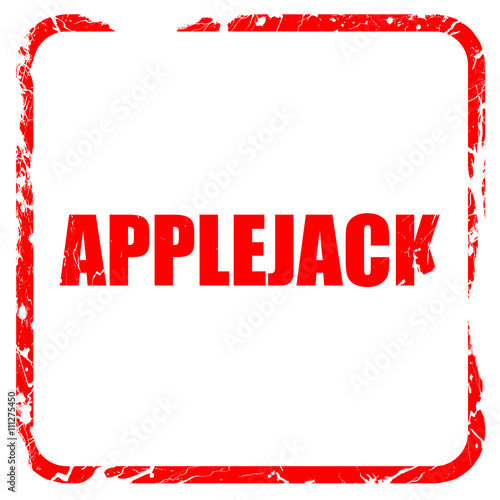 Photo applejack, red rubber stamp with grunge edges