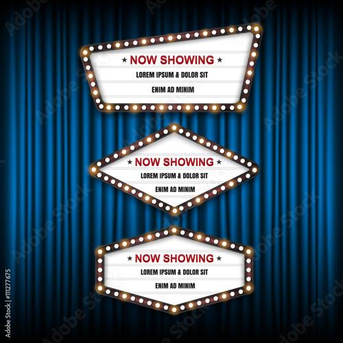 Showtime Sign, Theatre cinema Sign, Vector illustration. Canvas Print