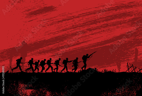 Silhouette of soldiers fighting at war Poster