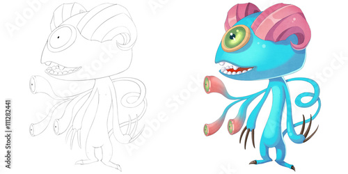 Foto  Coloring Book and Monster Creature Character Design Set 18: Double Horn Sheep Demon Monster isolated on White Background