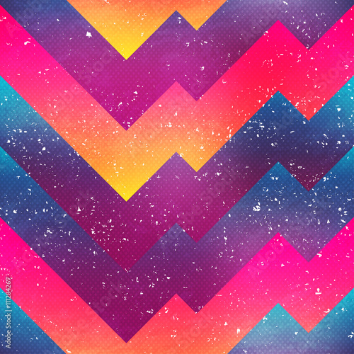 bright geometric seamless pattern with grunge effect