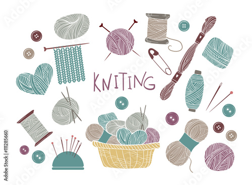 Cuadros en Lienzo Hand drawn vector vintage illustration - Set of knitting and cra