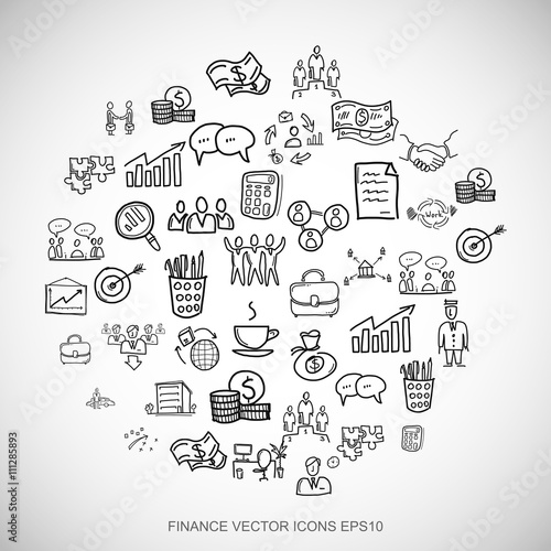 Photo  Black doodles Hand Drawn Business Icons set on White