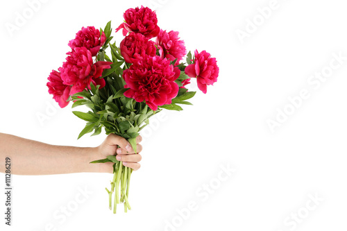 Wall Murals Floral Bouquet of red peony flowers isolated on a white