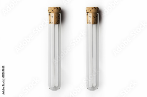 Two empty glass transparent test tube closed with cork on white background Wallpaper Mural