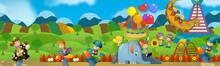 Cartoon Scene Of Kids Playing In The Funfair - Illustration For Children