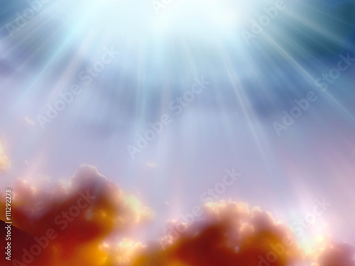 Fototapeta a magic mystical background with divine rays of Light