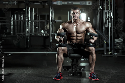 plakat very power athletic man in a gym