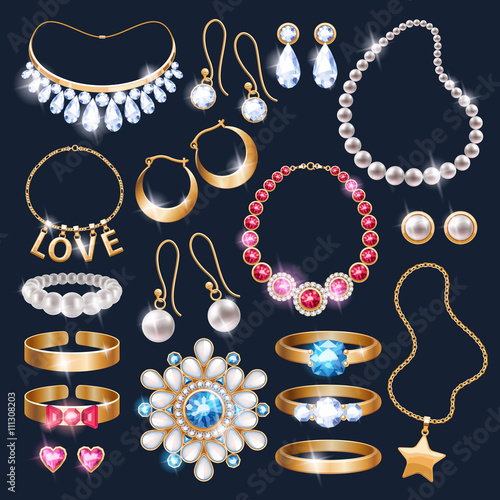 Leinwand Poster Realistic jewelry accessories icons set.