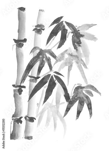 namalowane-na-szaro-bambusowe-drzewa-na-jasnym-tle