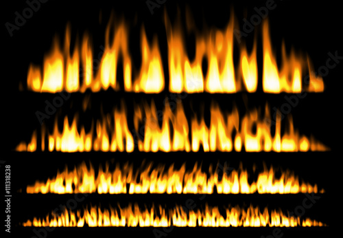 Papiers peints Feu, Flamme fire or fire lines isolated on black background, fire elements, fire frame