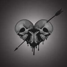 Skulls Heart With Arrow Illustration
