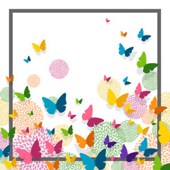 FototapetaVector Illustration of a Greeting Card Design with Colorful Paper Butterflies and Floral Elements