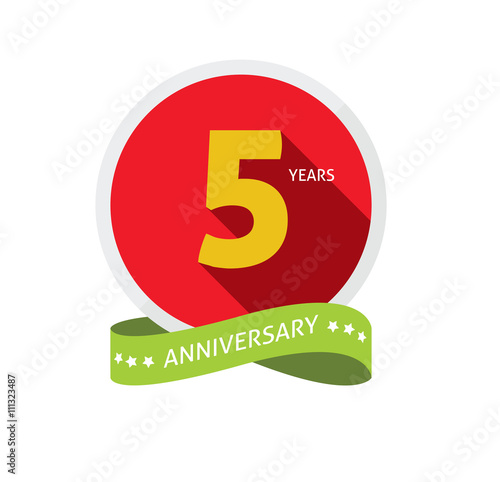 5th Anniversary Logo Badge Template With Shadow Number 5 Five 5