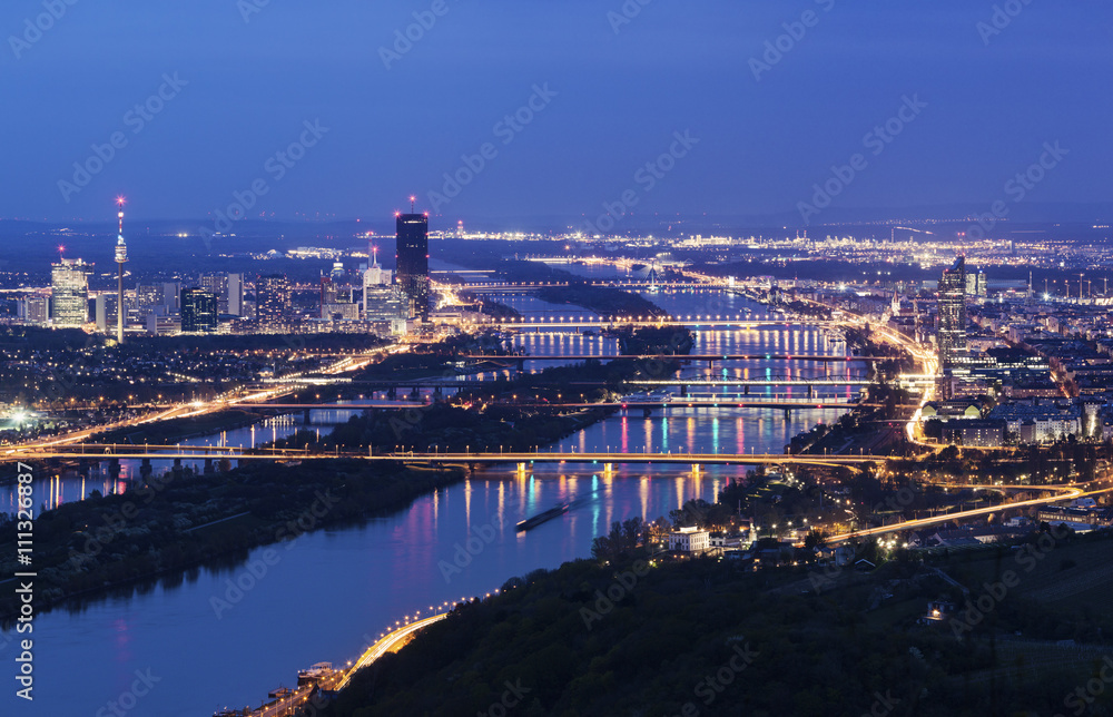 Photo & Art Print Vienna skyline and Danube River | EuroPosters