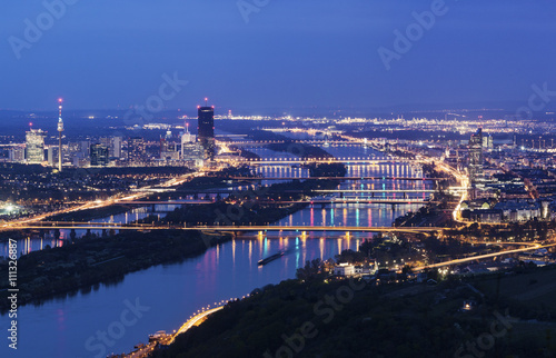 Photo sur Aluminium Vienne Vienna skyline and Danube River