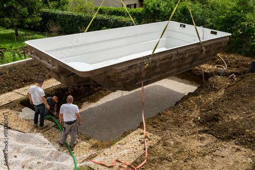 Construction piscine Canvas Print