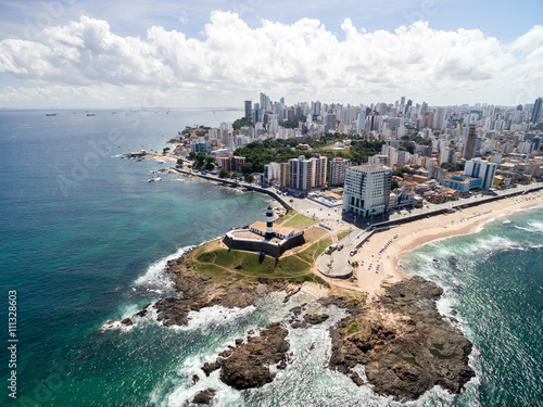 Fotografía  Aerial view of Barra Lighthouse and Salvador cityscape, Bahia, Brazil