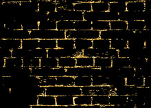 Brick Wall Gold Texture Pattern. Golden And Black Abstract Decorative Tile Background. Grunge Retro Surface. Old Brickwork Silhouette. Urban Design For Wallpaper, Card, Decoration. Vector Illustration