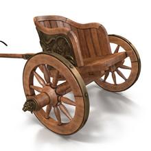 Roman Chariot Racing On White 3D Illustration