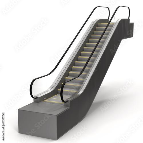 An escalator isolated on white 3D Illustration Wallpaper Mural