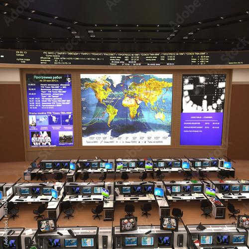 Fotografie, Obraz  Russian Mission Control Center 3D Illustration