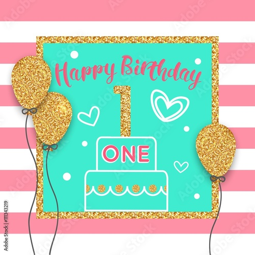 First birthday greeting card 1st birthday card with gold balloon first birthday greeting card 1st birthday card with gold balloon celebratory cake vector m4hsunfo