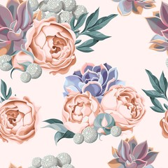 FototapetaSeamless succulent and peony roses