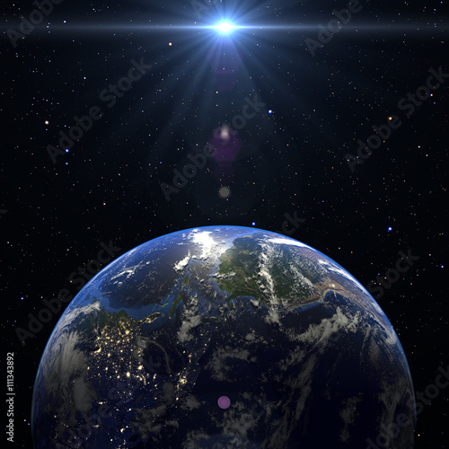 Fototapety, obrazy: Earth Planet Solar System 3d render