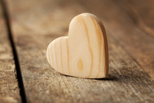 Wooden Heart On Rustic Wooden Background