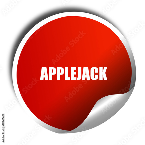 Photo  applejack, 3D rendering, red sticker with white text