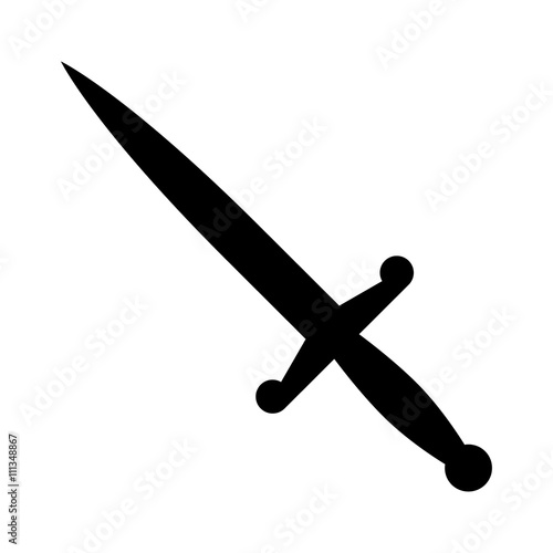 Dagger or short knife for stabbing flat icon for games and websites Canvas