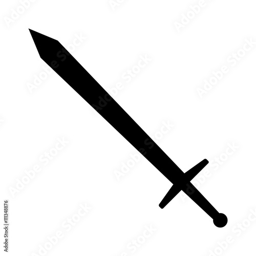 Long sword or claymore blade flat icon for games and websites Canvas Print