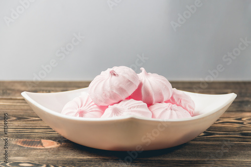 Acrylic Prints Bird-of-paradise flower Pink Marshmallows - Zephyr in White Plate. Sweet Dessert Concept
