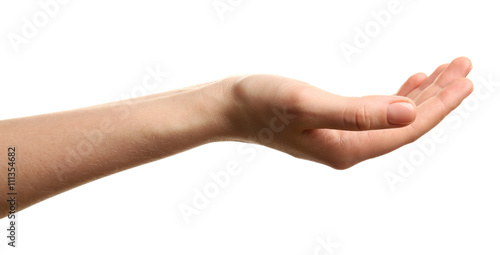 Fotografia  Open palm hand gesture on white background