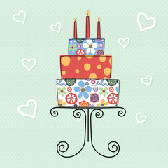 Obraz Birthday cake with flower pattern design