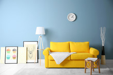Room Interior With Yellow Sofa...