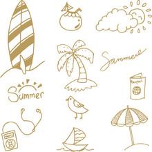 Simple Doodle Summer Vector