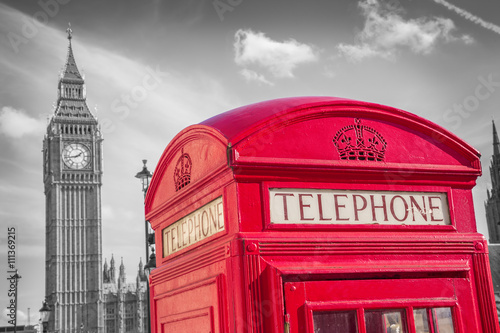 Obraz na płótnie London, England - Classic British red telephone box with Big Ben on a sunny day -black and white version - UK