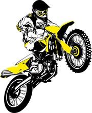 Motocross Logo. Vector Illustration Of Motorcyclist