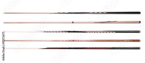billiard cue sticks on white background Fototapet