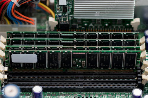 Fotografie, Obraz  Inside of server pc. Motherboard and RAM memory.