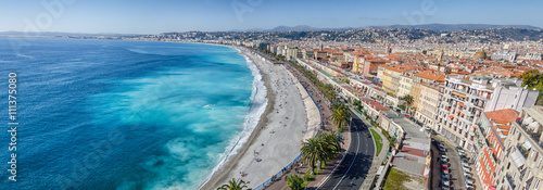 Garden Poster Nice Large panoramic view on Nice bay of Angels and Alps
