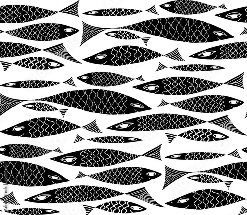 Vector underwater black and white pattern.
