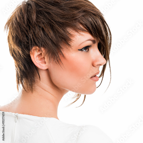 Foto op Plexiglas Kapsalon Portrait of a beautiful young woman on a white background