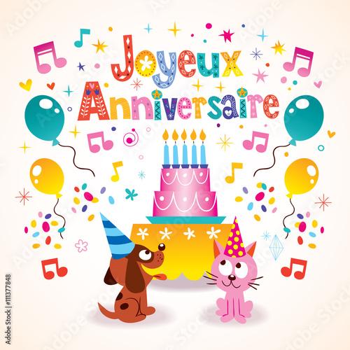 Joyeux Anniversaire Happy Birthday In French Kids Greeting Card