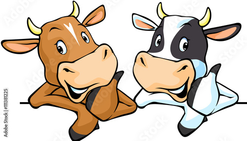 Leinwand Poster All cows recommend with thumb up - cow vector illustration peeking