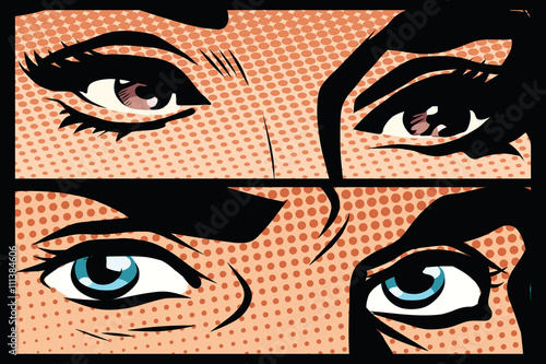 Obraz na płótnie Male and female eyes close-up pop art retro