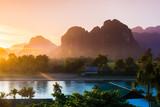 Sunset at Song river, Vang Vieng, Laos